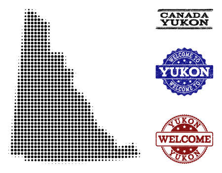 Welcome composition of halftone map of Yukon Province and rubber seal stamps. Halftone map of Yukon Province constructed with black round items.