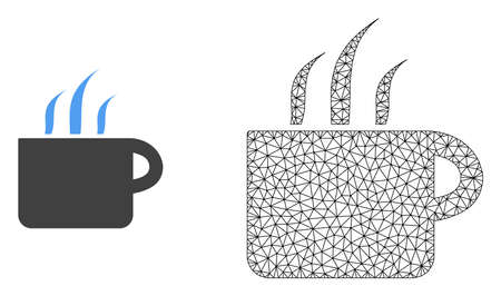 Polygonal mesh aroma cup and flat icon are isolated on a white background. Abstract black mesh lines, triangles and dots forms aroma cup icon.