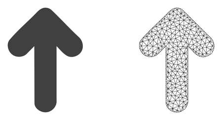 Polygonal mesh arrow up and flat icon are isolated on a white background. Abstract black mesh lines, triangles and dots forms arrow up icon.