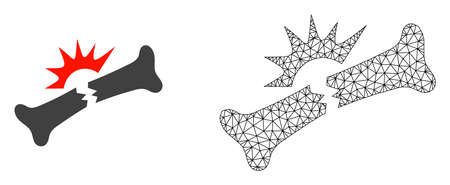 Polygonal mesh bone fracture and flat icon are isolated on a white background. Abstract black mesh lines, triangles and dots forms bone fracture icon.
