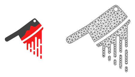 Polygonal mesh blood butchery knife and flat icon are isolated on a white background. Abstract black mesh lines, triangles and nodes forms blood butchery knife icon.