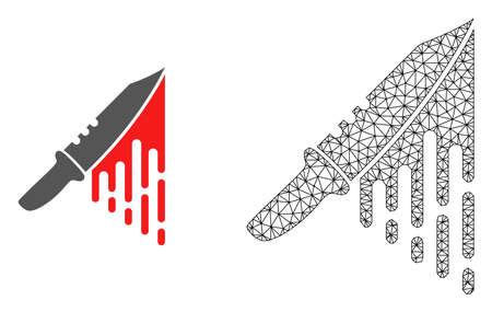 Polygonal mesh blood knife and flat icon are isolated on a white background. Abstract black mesh lines, triangles and dots forms blood knife icon. Иллюстрация