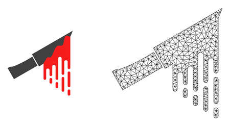 Polygonal mesh bloody knife and flat icon are isolated on a white background. Abstract black mesh lines, triangles and nodes forms bloody knife icon.