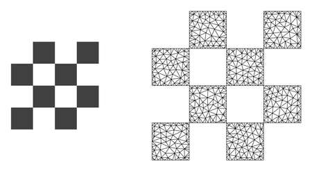 Polygonal mesh chess cells and flat icon are isolated on a white background. Abstract black mesh lines, triangles and dots forms chess cells icon.