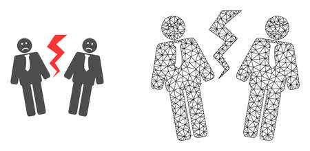 Polygonal mesh businessmen conflict and flat icon are isolated on a white background. Abstract black mesh lines, triangles and nodes forms businessmen conflict icon.