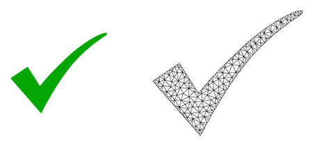 Polygonal mesh confirm tick and flat icon are isolated on a white background. Abstract black mesh lines, triangles and dots forms confirm tick icon.