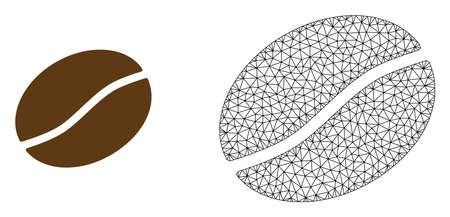 Polygonal mesh coffee bean and flat icon are isolated on a white background. Abstract black mesh lines, triangles and nodes forms coffee bean icon.  イラスト・ベクター素材