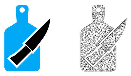 Polygonal mesh cutting board and knife and flat icon are isolated on a white background. Abstract black mesh lines, triangles and nodes forms cutting board and knife icon. Иллюстрация