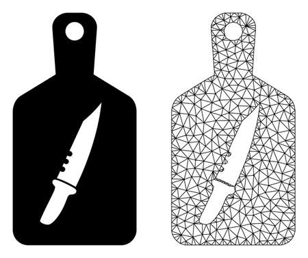Polygonal mesh cutting board and flat icon are isolated on a white background. Abstract black mesh lines, triangles and dots forms cutting board icon.