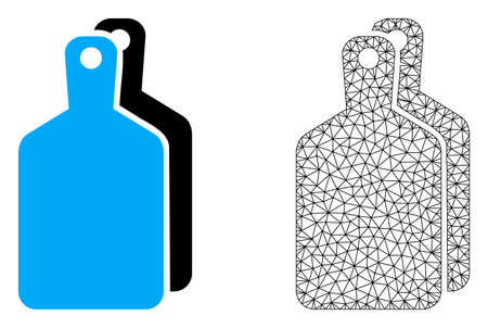 Polygonal mesh cutting boards and flat icon are isolated on a white background. Abstract black mesh lines, triangles and nodes forms cutting boards icon.