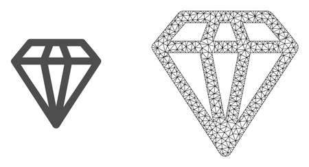 Polygonal mesh diamond and flat icon are isolated on a white background. Abstract black mesh lines, triangles and nodes forms diamond icon. Ilustrace