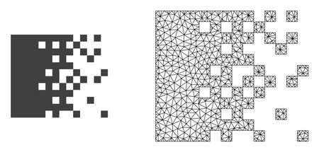 Le maillage polygonal dissolvant les pixels et l'icône plate sont isolés sur un fond blanc. Des lignes de mailles noires abstraites, des triangles et des points forment l'icône de pixels de dissolution.