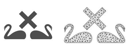 Polygonal mesh divorce swans and flat icon are isolated on a white background. Abstract black mesh lines, triangles and nodes forms divorce swans icon.