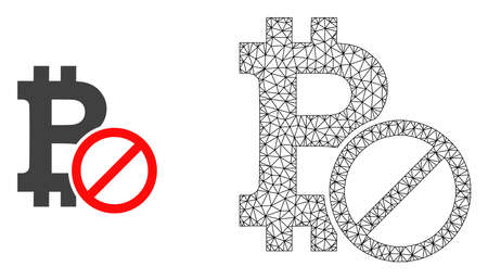 Polygonal mesh forbidden bitcoin and flat icon are isolated on a white background. Abstract black mesh lines, triangles and dots forms forbidden bitcoin icon.