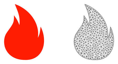 Polygonal mesh fire and flat icon are isolated on a white background. Abstract black mesh lines, triangles and dots forms fire icon. Illustration