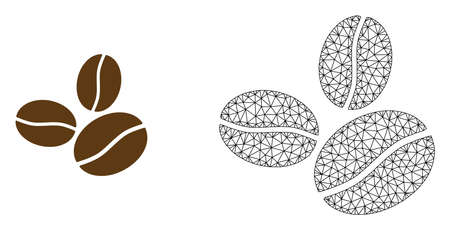 Polygonal mesh coffee beans and flat icon are isolated on a white background. Abstract black mesh lines, triangles and nodes forms coffee beans icon.  イラスト・ベクター素材