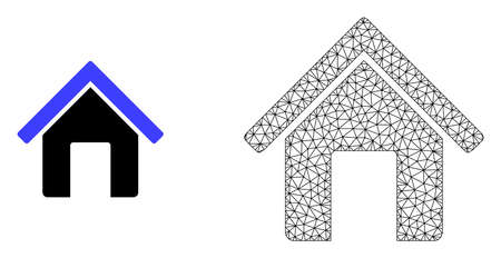 Polygonal mesh home and flat icon are isolated on a white background. Abstract black mesh lines, triangles and dots forms home icon.