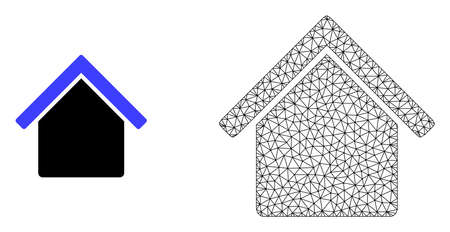 Polygonal mesh house and flat icon are isolated on a white background. Abstract black mesh lines, triangles and dots forms house icon. Illustration