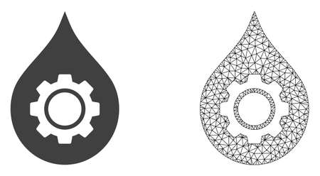 Polygonal mesh oil industry gear and flat icon are isolated on a white background. Abstract black mesh lines, triangles and dots forms oil industry gear icon.