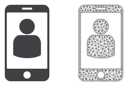 Polygonal mesh smartphone user and flat icon are isolated on a white background. Abstract black mesh lines, triangles and nodes forms smartphone user icon.
