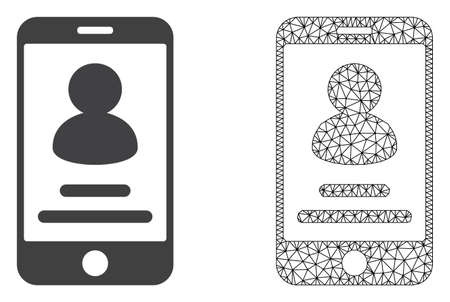 Polygonal mesh smartphone user info and flat icon are isolated on a white background. Abstract black mesh lines, triangles and nodes forms smartphone user info icon.