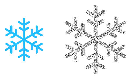 Polygonal mesh snowflake and flat icon are isolated on a white background. Abstract black mesh lines, triangles and dots forms snowflake icon.