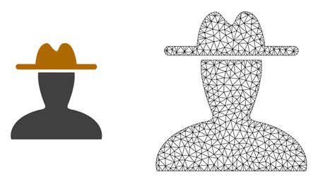 Polygonal mesh peasant persona and flat icon are isolated on a white background. Abstract black mesh lines, triangles and nodes forms peasant persona icon.