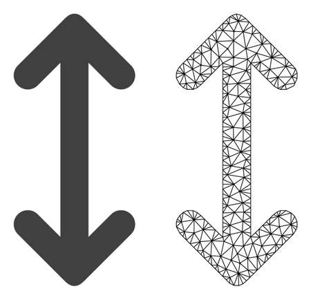 Polygonal mesh swap arrows vertically and flat icon are isolated on a white background. Abstract black mesh lines, triangles and nodes forms swap arrows vertically icon.