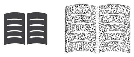 Polygonal mesh open book and flat icon are isolated on a white background. Abstract black mesh lines, triangles and nodes forms open book icon. Stock Illustratie