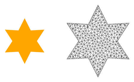 Polygonal mesh six corner star and flat icon are isolated on a white background. Abstract black mesh lines, triangles and dots forms six corner star icon. Ilustração