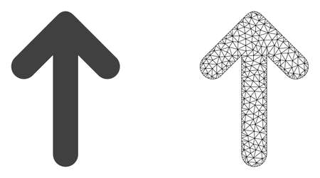 Polygonal mesh up arrow and flat icon are isolated on a white background. Abstract black mesh lines, triangles and nodes forms up arrow icon.