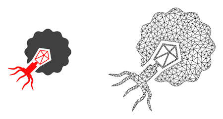 Polygonal mesh virus infecting cell and flat icon are isolated on a white background. Abstract black mesh lines, triangles and dots forms virus infecting cell icon.