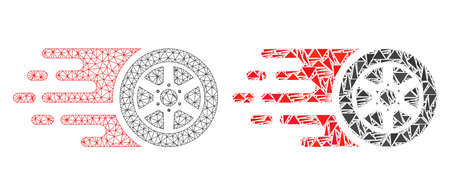 Mesh vector bolide car wheel with flat mosaic icon isolated on a white background. Abstract lines, triangles, and points forms bolide car wheel icons.