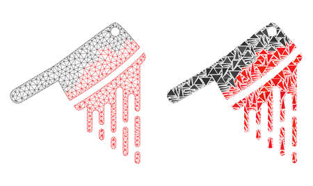 Mesh vector blood butchery knife with flat mosaic icon isolated on a white background. Abstract lines, triangles, and points forms blood butchery knife icons. Illustration