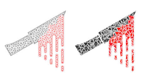 Mesh vector bloody knife with flat mosaic icon isolated on a white background. Abstract lines, triangles, and points forms bloody knife icons. Illustration