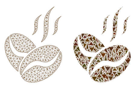 Mesh vector coffee beans aroma with flat mosaic icon isolated on a white background. Abstract lines, triangles, and points forms coffee beans aroma icons.