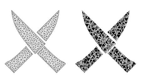 Mesh vector crossing knives with flat mosaic icon isolated on a white background. Abstract lines, triangles, and points forms crossing knives icons.