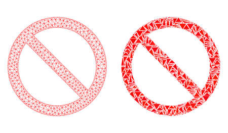 Mesh vector forbidden with flat mosaic icon isolated on a white background. Abstract lines, triangles, and points forms forbidden icons. Wire carcass flat polygonal linear mesh in vector format,