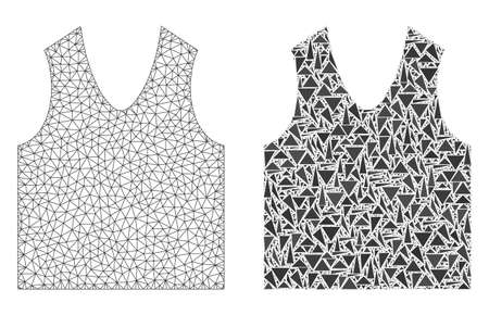 Mesh vector gilet with flat mosaic icon isolated on a white background. Abstract lines, triangles, and points forms gilet icons. Wire carcass flat triangular linear mesh in vector format, Ilustracje wektorowe