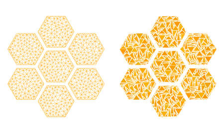 Mesh vector honeycombs with flat mosaic icon isolated on a white background. Abstract lines, triangles, and points forms honeycombs icons. Wire frame flat triangular line mesh in vector format,