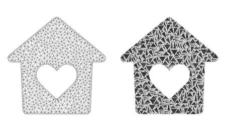 Mesh vector lovely house with flat mosaic icon isolated on a white background. Abstract lines, triangles, and points forms lovely house icons. Illustration