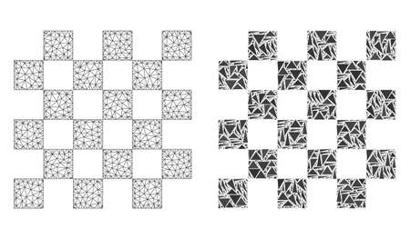 Mesh vector chess board with flat mosaic icon isolated on a white background. Abstract lines, triangles, and points forms chess board icons. Wire frame flat triangular linear mesh in vector format,