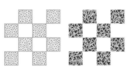 Mesh vector chess cells with flat mosaic icon isolated on a white background. Abstract lines, triangles, and points forms chess cells icons. Wire carcass flat triangular line mesh in vector format, 向量圖像