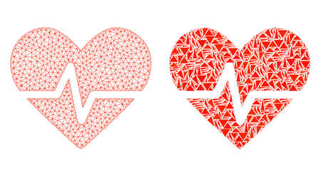 Mesh vector heart pulse with flat mosaic icon isolated on a white background. Abstract lines, triangles, and points forms heart pulse icons. Wire carcass flat triangular linear mesh in vector format, Illustration