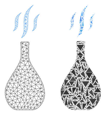 Mesh vector incense vial with flat mosaic icon isolated on a white background. Abstract lines, triangles, and points forms incense vial icons.  イラスト・ベクター素材