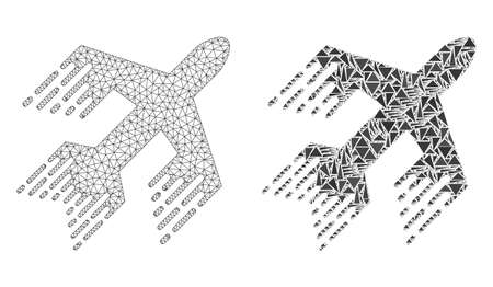 Mesh vector jet plane with flat mosaic icon isolated on a white background. Abstract lines, triangles, and points forms jet plane icons. Wire carcass flat polygonal line mesh in vector format,