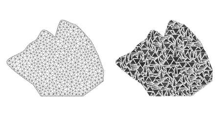 Mesh vector rock stone with flat mosaic icon isolated on a white background. Abstract lines, triangles, and points forms rock stone icons. Wire carcass flat polygonal line mesh in vector format,