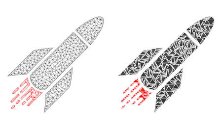 Mesh vector rocket with flat mosaic icon isolated on a white background. Abstract lines, triangles, and points forms rocket icons. Wire carcass flat triangular line mesh in vector format,