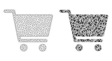Mesh vector shopping cart with flat mosaic icon isolated on a white background. Abstract lines, triangles, and points forms shopping cart icons.