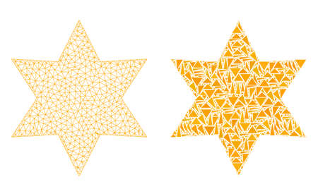 Mesh vector six corner star with flat mosaic icon isolated on a white background. Abstract lines, triangles, and points forms six corner star icons.